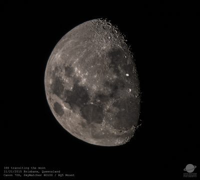 International Space Station transiting accross the moon