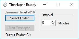 A screenshot of the Timelapse Buddy program